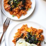 This Kimchi Fried Rice is so easy to make and a great way to use up your day-old rice. Make it a low-carb option with cauliflower rice for a healthy vegan dinner side.