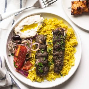 Fancy something different tonight? Try these budget-friendly,MiddleEastern-inspired lamb skewers that are easy to make and tasty.One grill, super fast to make, and full of smoky flavors.