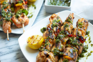 This chimichurri salmon skewers is perfect for grilling season.