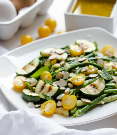 Long Bean Salad is so easy to make and will quickly become your favorite summer recipe.It's great served warm or cold or even as a side.