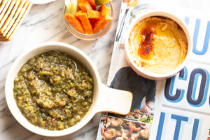 Delicious on its own, this roasted tomatillo salsa is fresh, spicy and tangy.