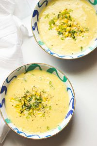 This thick, potato-studded corn chowder is perfect on a cold winter night or to satisfy your summer soup cravings. It is a simple recipe, rich, creamy and velvety smooth.It has been a family favorite for years!