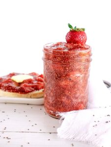 Strawberry Chia Jam is the perfect, sweet, and fresh addition to your toast, bagel, or muffin. Of course, it's delicious all on its own but, definitely will do a great job of jazzing up other foods as well. Chia seeds add a delicious and healthy aspect to this delightfully easy spread.