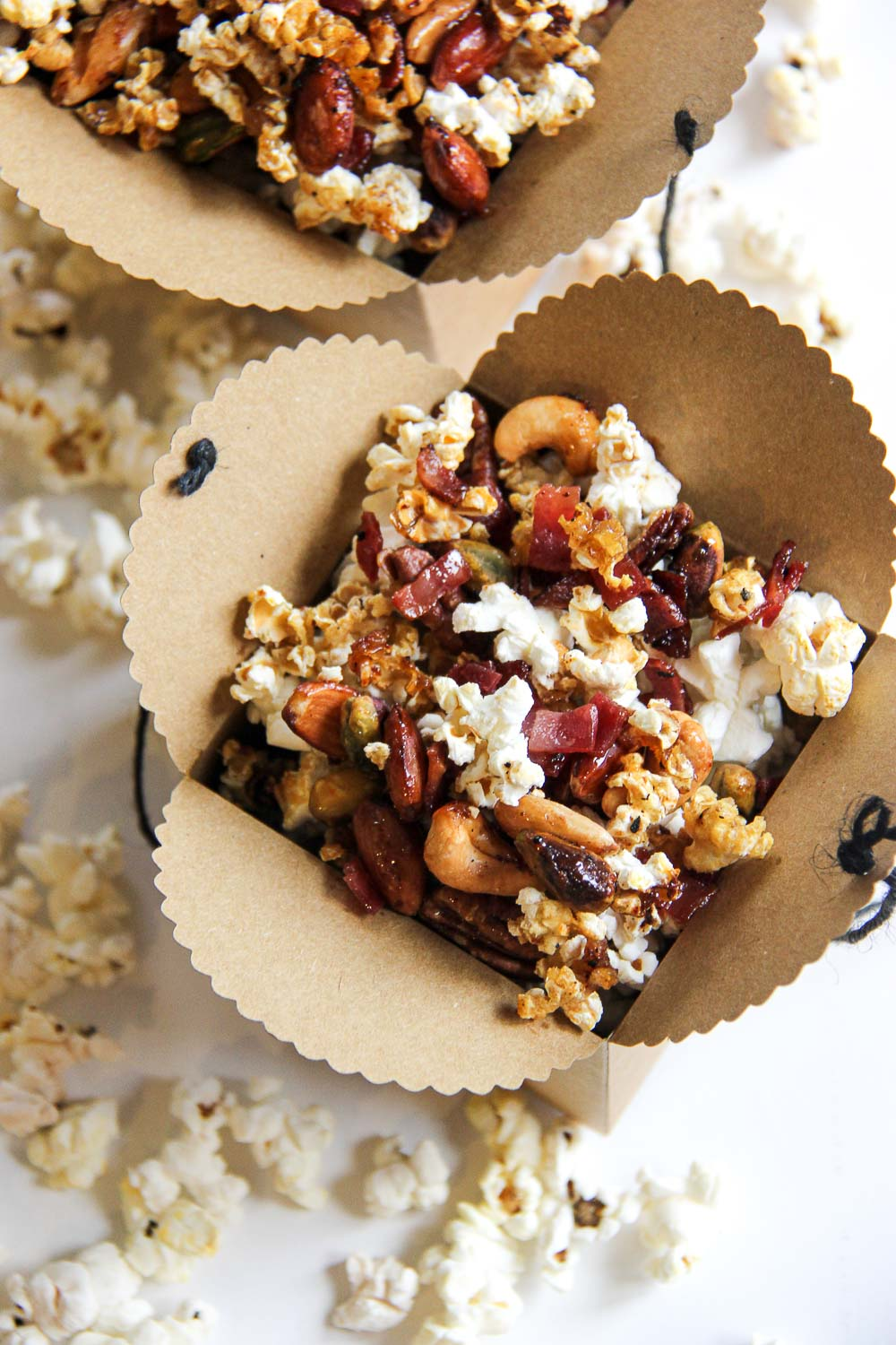 Make a batch of this sweet, crunchy, delicious homemade Bacon & Mixed Nuts Caramel Corn! It's highly addictive and perfect for parties, snacking, movie nights, and gifting.