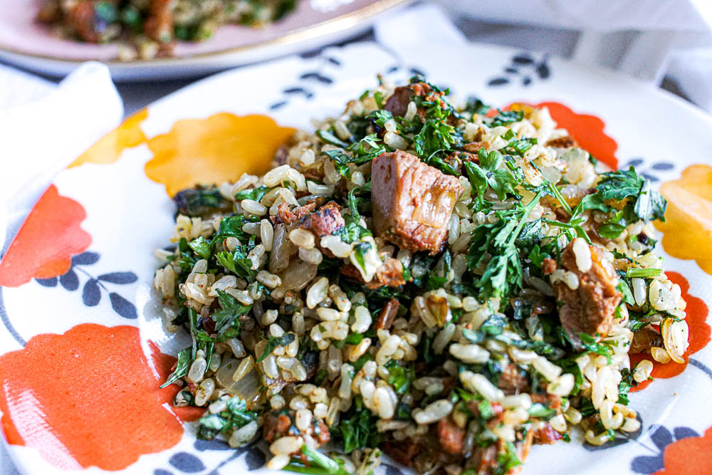 Tuna Fried Rice - a quick and easy family-friendly meal idea is packed with fresh herbs and protein. The kind of meal you cook in your pajamas after a long day at work!
