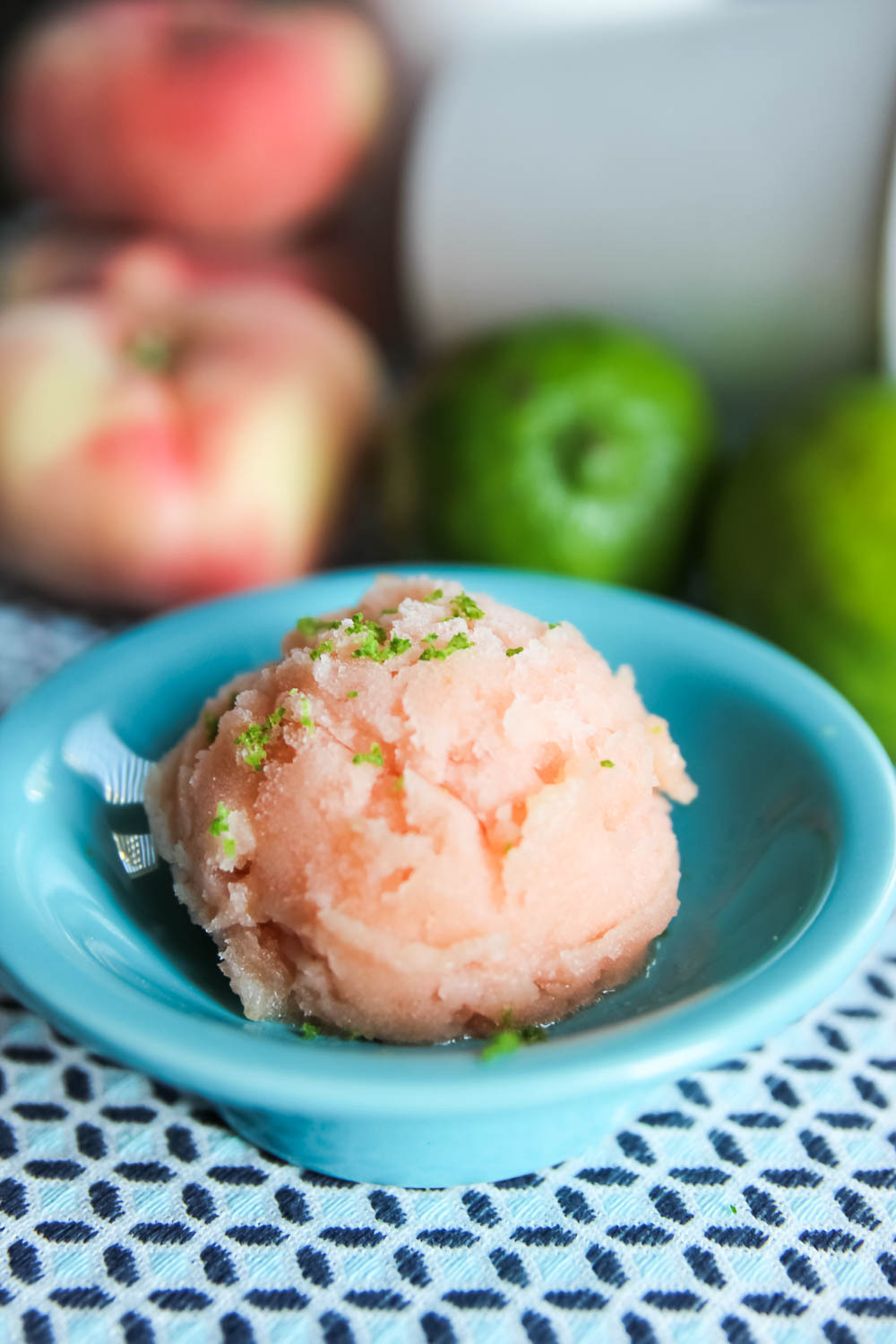 Icy cold and full of flavor. This Roasted Peach and Lime Sorbet is a seriously refreshing dessert, perfect for a hot summer day.