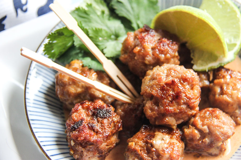 A fun twist on a classic! These Saucy Thai Meatballs are amazing and loaded with tons of flavor!