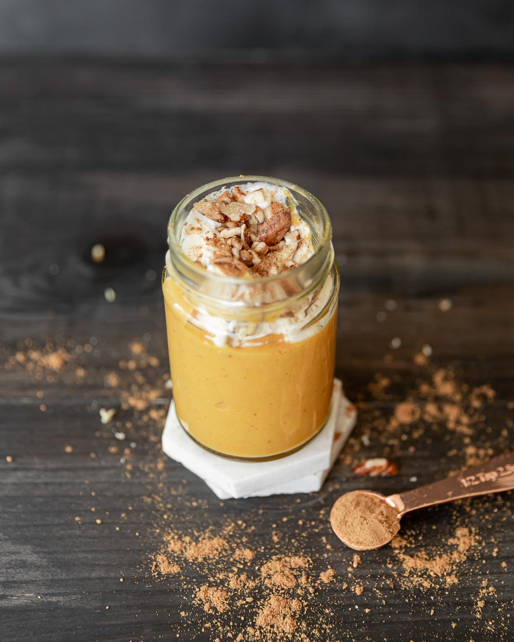 Step out of your smoothie rut with this perfect fall smoothie - pumpkin and mango smoothie. Made with simple ingredients, this refreshing smoothie makes a quick and easy breakfast or snack.