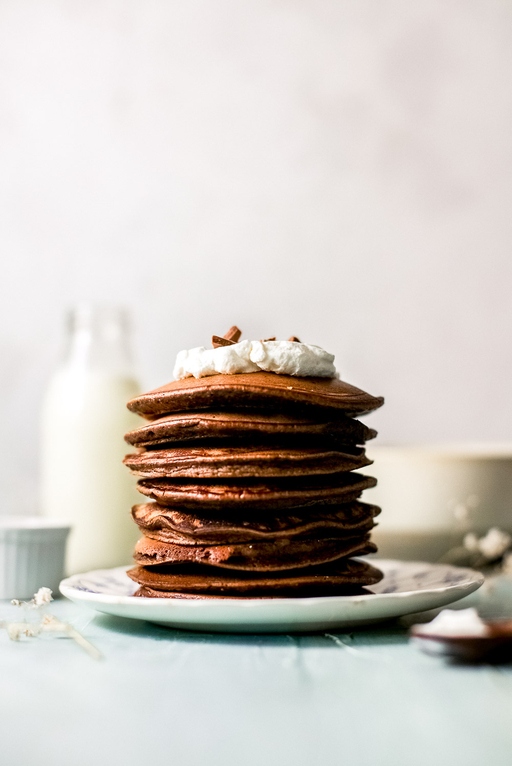 Pancakes, anyone? These chocolate pancakes are fluffy, hearty, and make the perfect weekend breakfast or brunch. Best of all, you can mix the ingredients in a blender. And don't forget to check more brunch ideas on the blog.