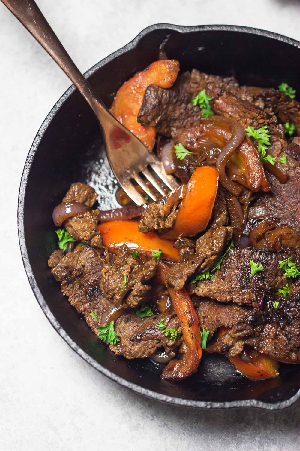Peruvian skirt steak is a relatively inexpensive cut of meat with a lot of flavors. Super easy and great for weeknight dinner as it cooks quickly.