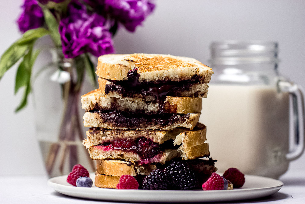 My sweet and savory Raspberry and Chocolate Grilled Cheese sandwiches are a delightful balance of fruity, chocolaty, and savory brie cheese.
