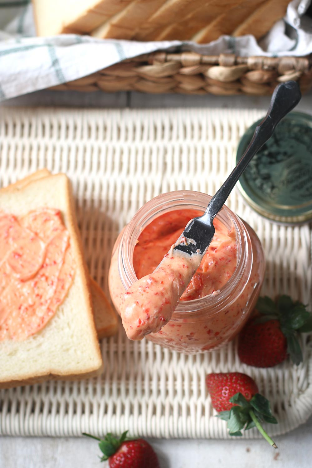 Fresh Strawberry Butter. A simple but delicious spread that goes well with so many things - french toast, muffins, croissants, and so much more. It only takes 3 ingredients and 5 minutes to make this strawberry butter.