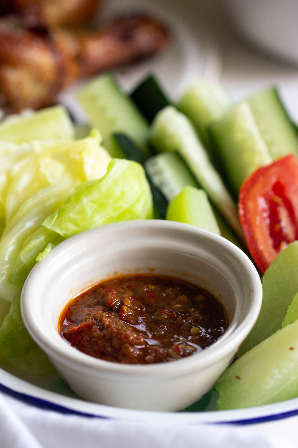 If you're a fan of something spicy, you need to try sambal terasi. Also known as sambal belacan, this spicy condiment is very popular and pairs well with fried chicken or lalapan.